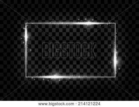 Silver Shining Square Banner. Sparkle, Glowing Neon Light Effect. Vector Illustration.