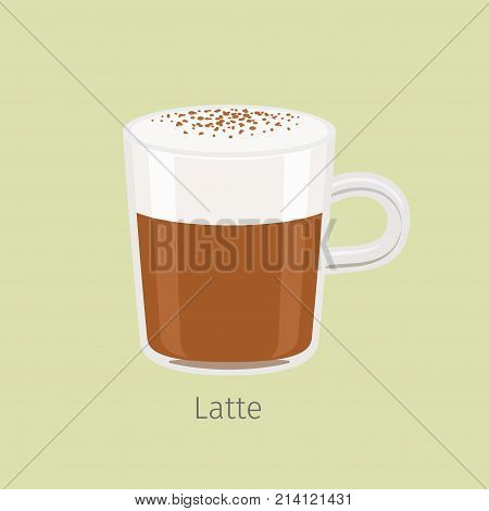 Glass mug with aromatic latte flat vector. Hot invigorating drink with caffeine. Espresso based coffee with frothing milk and chocolate sprinkle on creamy foam illustration for cafe menus design