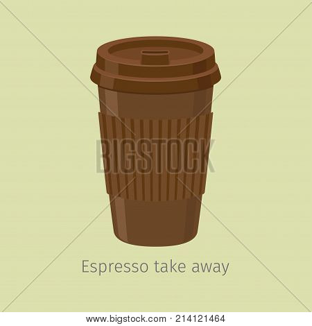 Take away espresso in perforated paper cup with plastic lid flat vector. Invigorating drink with caffeine. Modern disposable container for hot drinks carrying illustration for coffee house, cafe menu