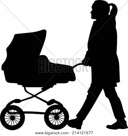 Silhouette of a woman walking with a pram - vector