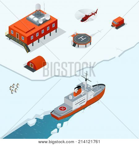 Isometric Antarctica station or polar station with buildings, meteorological research measurement tower, vehicles, helipad and icebreaker Vector Illustration