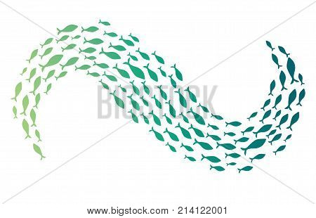 Colored silhouettes of groups of sea fishes. Colony of small fish. Icon with river taxers. Logo.