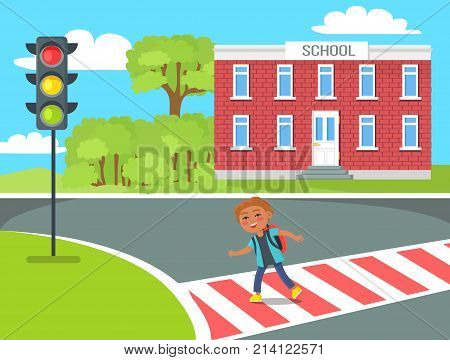 Cheerful redhead kid with red rucksack crossing road from school to traffic lights during sunny day vector illustration in cartoon style
