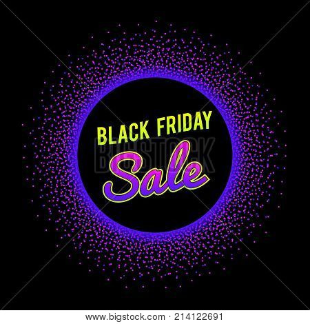 Black Friday Banner. Bright text signage in glowing neon circle border. Vector graphic template with halftone dots burst. Illustration in vibrant colors. 1980-1990 fashion design style. Black Friday sale. Black Friday offer. Black Friday shopping