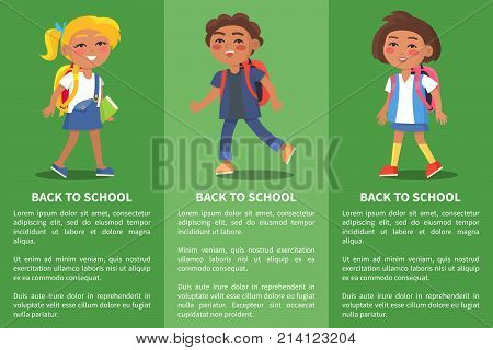 Back to school collection of posters with children and inscriptions. Isolated vector illustration of school-aged boys and girls on green background