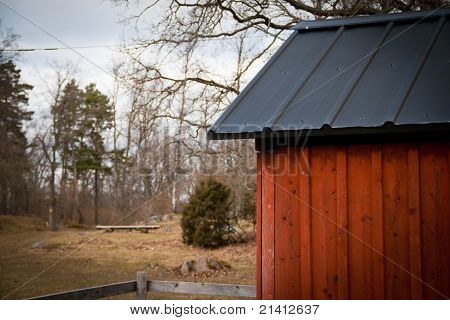 Red Barn With Black Roof