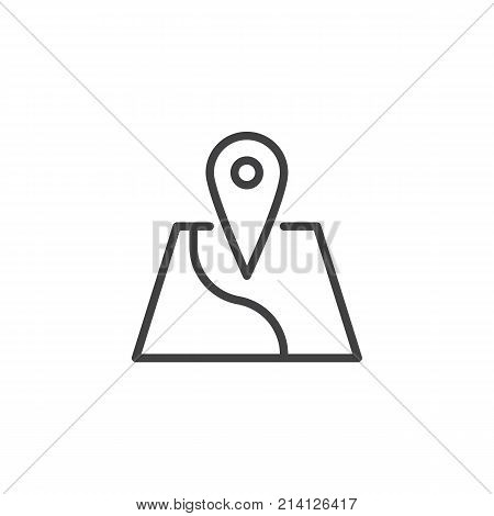 Map location line icon, outline vector sign, linear style pictogram isolated on white. Geo location pin symbol, logo illustration. Editable stroke