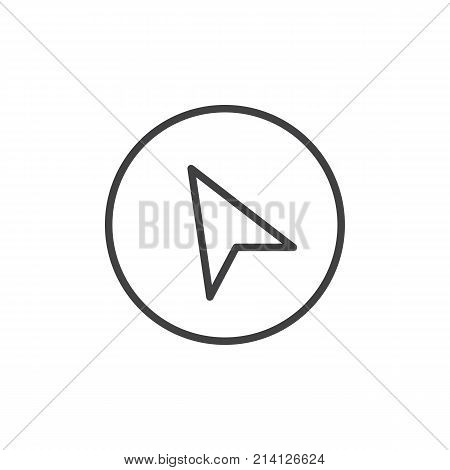 Navigation cursor line icon, outline vector sign, linear style pictogram isolated on white. Location pointer arrow symbol, logo illustration. Editable stroke