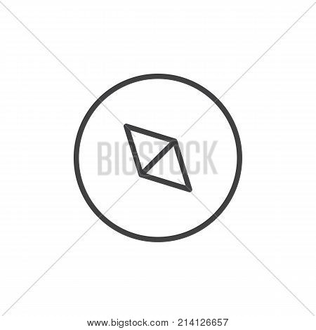 Compass line icon, outline vector sign, linear style pictogram isolated on white. Navigation arrow symbol, logo illustration. Editable stroke