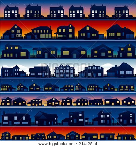House neighborhood background at different time of the day