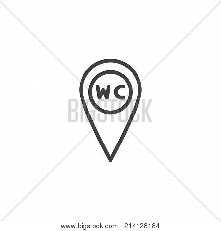 WC Toilet location line icon, outline vector sign, linear style pictogram isolated on white. Restroom or lavatory map pointer symbol, logo illustration. Editable stroke