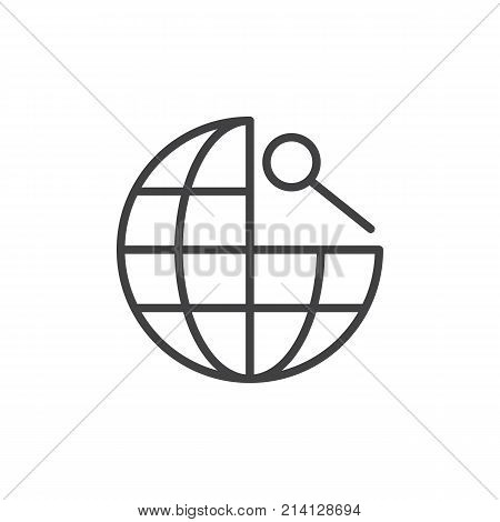 Global navigation line icon, outline vector sign, linear style pictogram isolated on white. Earth globe and magnifying glass symbol, logo illustration. Editable stroke