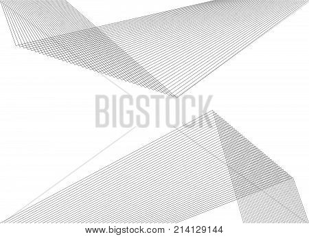 Design elements. Curved sharp corners many streak. Abstract vertical broken stripes on white background isolated. Creative band art. Vector illustration EPS 10. Black lines created using Blend Tool poster