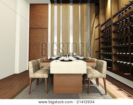 A modern dinning room