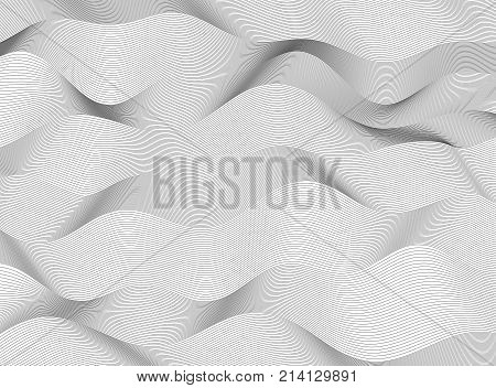 Design elements. Wave of many gray lines. Abstract wavy stripes on white background. Creative line art. Vector illustration EPS 10. Colourful shiny waves with lines created using Blend Tool.