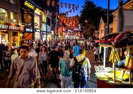 Pedestrianised İstiklal Caddesi (Independence Street) a bustling modern shopping street in Istanbul, Turkey on August 13, 2015.