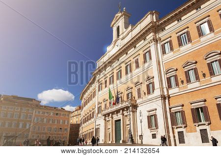 Rome Italy february 18 2017: facade of the Montecitorio Palace home of the italian chamber of deputies one of the two branch italian parliament