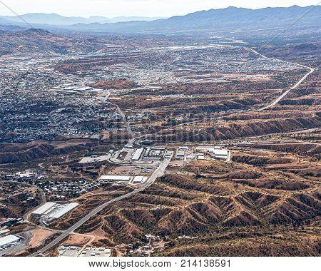 Border Crossing aerial view looking from Nogales Arizona into Nogales Mexico