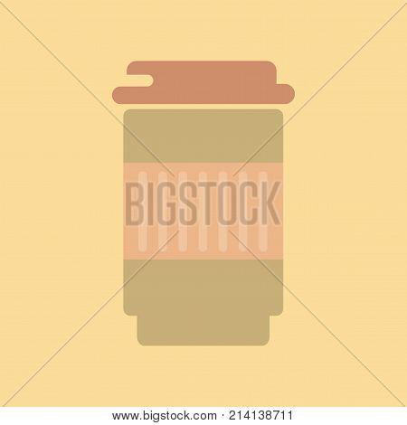 flat icon on stylish background coffee to go caffeine poster