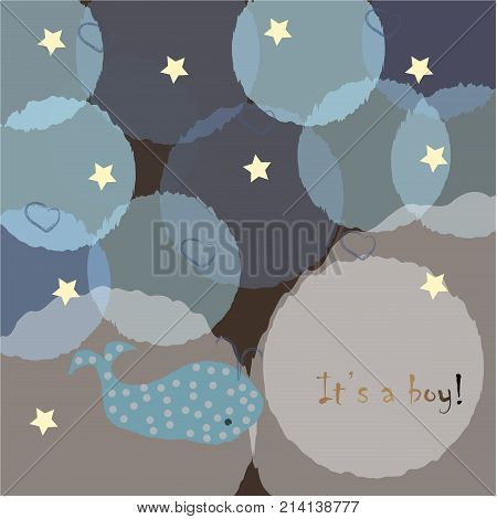 Baby Boy Birth announcement. Baby shower invitation card. Cute whale announces the arrival of a baby boy. Card Design with gold blue message. Blue Background with blue bubbles and stars.