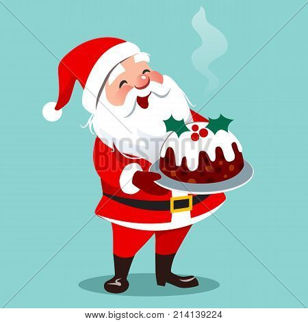 Vector cartoon illustration of happy Santa Claus standing holding traditional English Christmas fruit cake on a platter isolated on aqua. Cristmas theme design element in flat contemporary style.
