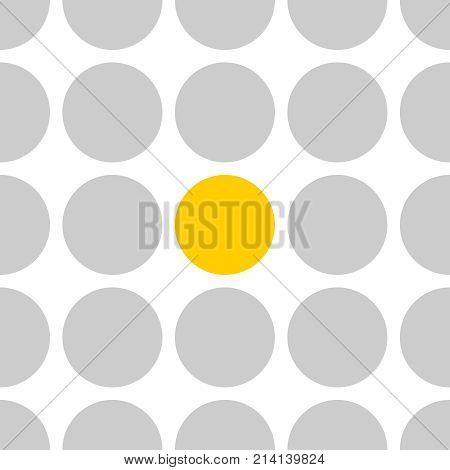 Tile vector pattern with grey and yellow polka dots on white background