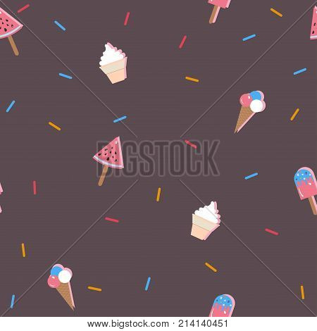 Cute Ice cream pattern with vanilla ice cream, chocolate ice cream, ice cream in a cone, sprinkles and scoops. Vector Illustration