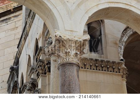 SPLIT, CROATIA - SEPTEMBER 11, 2016: It is the capital of the Roman one of the pillars of the peristyle in the Diocletian's Palace.