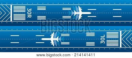 Aircraft on the runway. Aviation transportation illustration. Plane is on the runway. Vector design