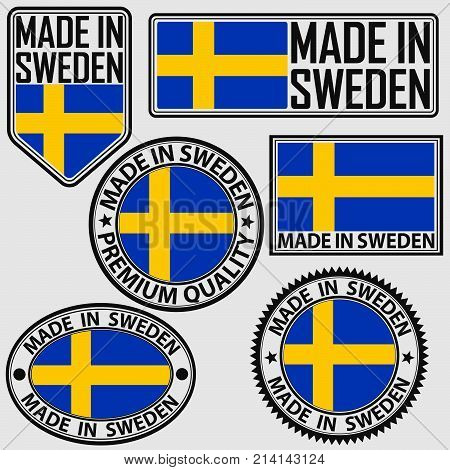 Made In Sweden Label Set With Flag, Made In Sweden, Vector Illustration