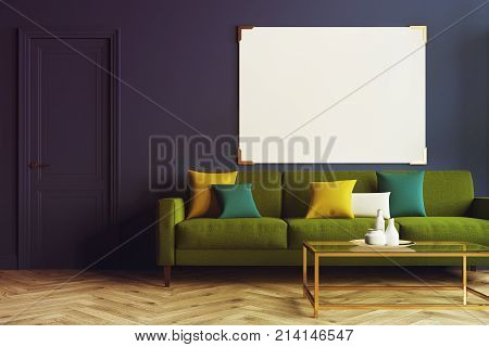 Blue Living Room, Green Sofa Toned