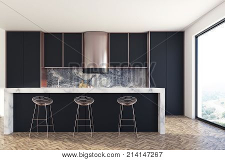 Black And Marble Kitchen Bar