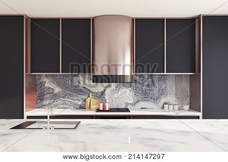 Black And Marble Kitchen Countertop