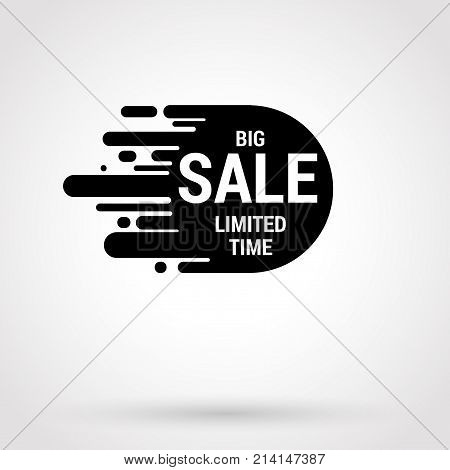 Sale sticker with hand drawn elements in white and black colors on white background. Unlimited time For showcase and site