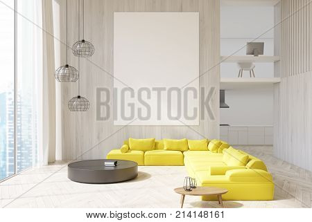 White Wooden Living Room Yellow Sofa