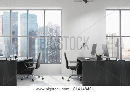 White Open Space Office Interior Side, Black