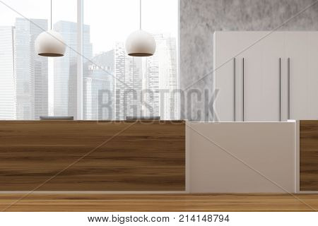Concrete And Wooden Office, Reception