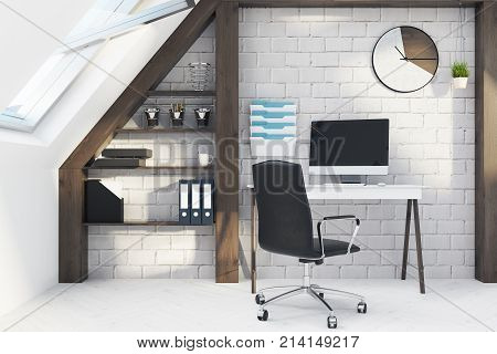 White And Wooden Home Office Interior Close Up