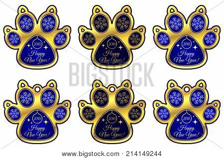 Dog Paw 2018 of New Year. Set of Stickers and Hanging Toy of Blue Dog Paw with Illustration of Snowflakes Christmas tree Toy Glares and Inscription Happy New Year 2018. Golden Blue and Dark-Blue poster