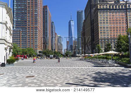 New York, Manhattan. View From Battery Park Along Little West Street.