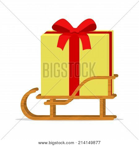 Vector illustration of cartoon sledge with gift box. Isolated white background. Wooden sleigh with a gift. Sled with present. Side view.