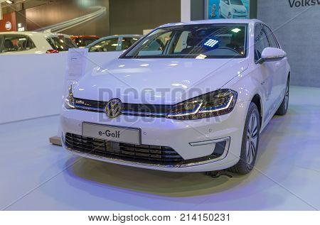 ATHENS, GREECE - NOVEMBER 14, 2017: Volkswagen e-Golf at Aftokinisi-Fisikon 2017 Motor Show.