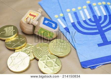 Traditional Hanukkah Dreidels Napkins and Chocolate Gelt Coins