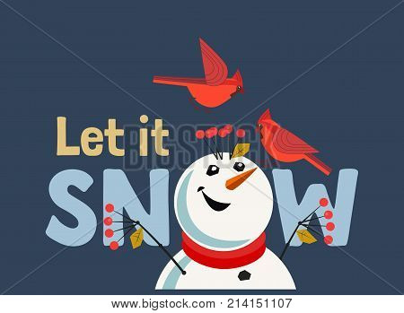 Happy holidays card. Red Northern Cardinal birds comic snowman. Cute cartoon. Winter birds of backyard city garden. Stylized sign. New year event banner background. Christmas greeting vector design