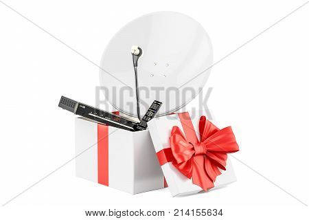 Gift box with digital satellite receiver and satellite dish 3D rendering isolated on white background