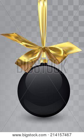 Glass Christmas black toy on a transparent background. Stocking Christmas decorations. Transparent vektor object for design, mocap. Vector illustration. 10 EPS
