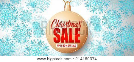 Christmas Sale up to Fifty Percent off Sale lettering on bauble. Christmas invitation. Handwritten and typed text, calligraphy. For banners, posters, leaflets and brochures.