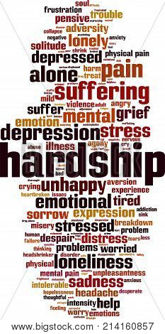 Hardship word cloud concept. Vector illustration on white