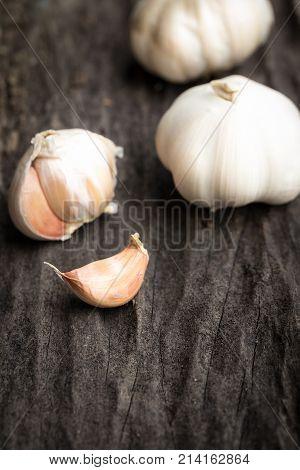 Garlic On Dark Wooden Floor