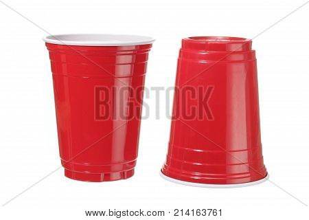 Red Plastic Cups on Isolated White Background